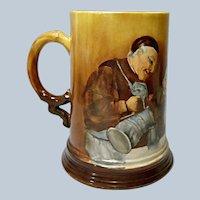 Jean Pouyat Limoges Hand Painted Porcelain Tankard - Mug - Monks Having A Drink