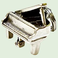Sterling Silver Grand Piano Charm 3-D