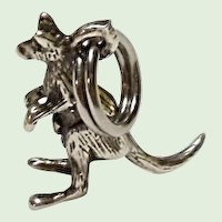 Silver Kangaroo Mama With Baby In Pouch Charm Marked 925  3-D