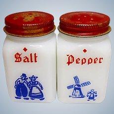 Vintage Milk Glass Salt And Pepper Dutch Shaker Set - Made In U.S.A.