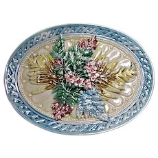 Antique Majolica Footed Basket Weave Ferns And Flowers Oval Serving Stand