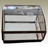 Glass Vanity Trinket Box Etched Bird Pale Pink Wavy Glass