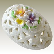 Pierced Porcelain Trinket Box Egg Shaped