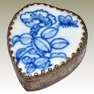 Heart Shape Trinket Box Blue and White