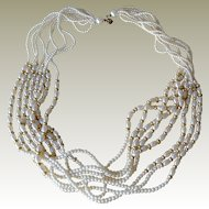 Eight Strand Faux Pearl Necklace 27 Inches