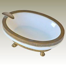White Opaline Glass Ashtray Dish with Ormolu Trim