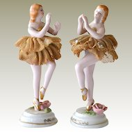 Porcelain  and Lace Ballerina Figurines Japan Vintage