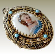 Brass Porcelain Locket Pendant with Turquoise Stones