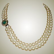 Necklace Faux Pearl Two Strands Green Clasp