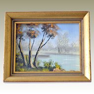 Miniature Painting River or Lake Landscape