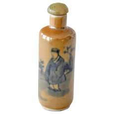 Chinese Snuff Bottle Tan with Two Men in Blue