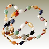 Polished Semiprecious Stone Necklace 32 inches