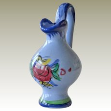 Miniature Pitcher Blue Pottery Signed