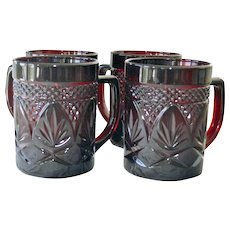 Four Ruby Glass Mugs Cris D'Arques Durand French