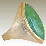 Jade Ring Marquise Shape 14k  Gold 11 Grams