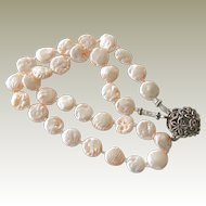 Necklace Coin Pearl Peach Pink Heart Clasp