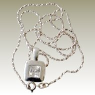 Sterling Crystal Pendant and Chain Necklace