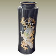 Tall Black Porcelain and Enamel Vase Japan