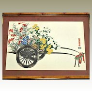 Japanese Print Flower Cart