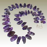 Polished Amethyst Necklace Big Chunky Stones