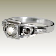 Ring Paste Rhinestone Silver Old and Unusual