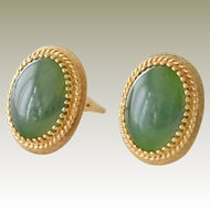 Jade Cuff Links 14k Gold Large Quality
