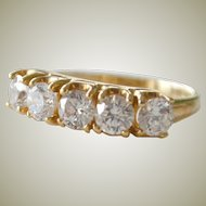 Ring Band Diamonique Cubic Zirconia 14K Gold 3.6 Grams