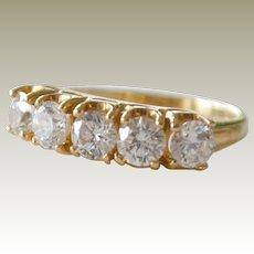 Ring Band Diamonique Cubic Zirconia 14K Gold 3.6 Grams