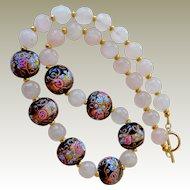 Necklace Black Wedding Cake and Half Inch Rose Quartz Beads