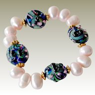 Pink Freshwater Pearl Bracelet Cobalt Art Beads