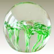 Glass Paperweight Lily Like Flowers