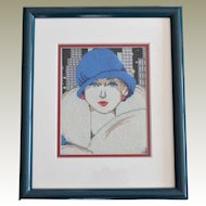Needlepoint Art Deco Style Professionally Framed