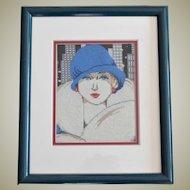 Needlepoint Art Deco Style Professionally Framed