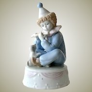 Music Box Boy Clown and Puppy Porcelain