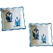 Two Blue and White Porcelain Dishes Pin Trays Japan