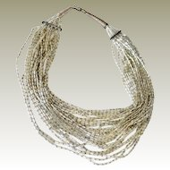 Necklace Multi strand Glimmering Glass Silver Lined Beads