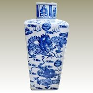 Chinese Tall Vase with Dragons Blue White
