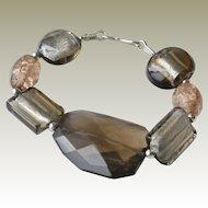 Bracelet Foil and Art Glass Sterling Silver