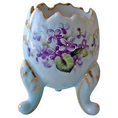 Porcelain Egg Vase with Violets