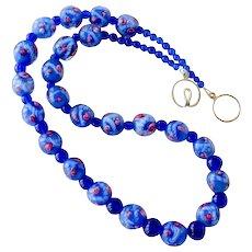 Necklace Cobalt Blue Art Glass Beads