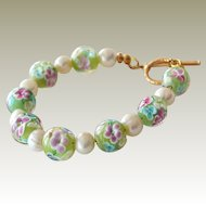 Bracelet Art Glass Bead with Flowers Freshwater Pearls