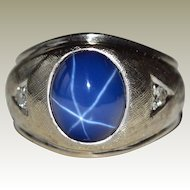 Ring Star Sapphire and Diamonds 14k Gold 8.4 Grams