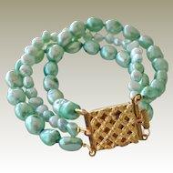 Bracelet Freshwater Pearls Brass Clasp Three Strands