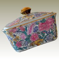 Oriental Porcelain Box or Covered Dish Large Size