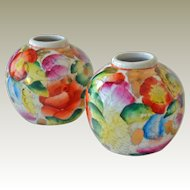 Miniature Chinese Vases Two Hand Painted