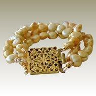 Bracelet Gold Freshwater Pearls Brass Clasp