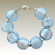 Bracelet Foil Beads Icy Blue