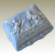 Trinket Box with Cherubs Pale Blue