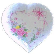 Mikasa Heart Shaped Dish with Roses Ribbons