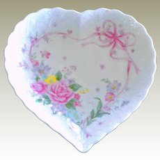 Mikasa Heart Shaped Dish with Roses Ribbons